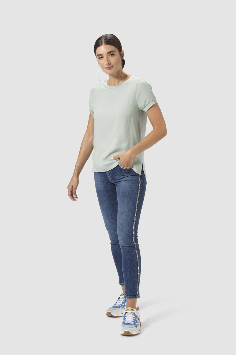 Midi jeans with lurex stripes