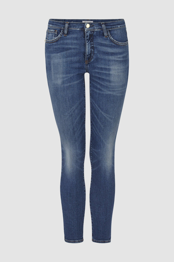 Rich & Royal - Aged blue midi jeans in used look - bust