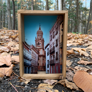 a 5 inch square shadow box of layers of a photograph of a church taken from a side street in the town of Jáen, Spain making it look like a 3-dimensional image.