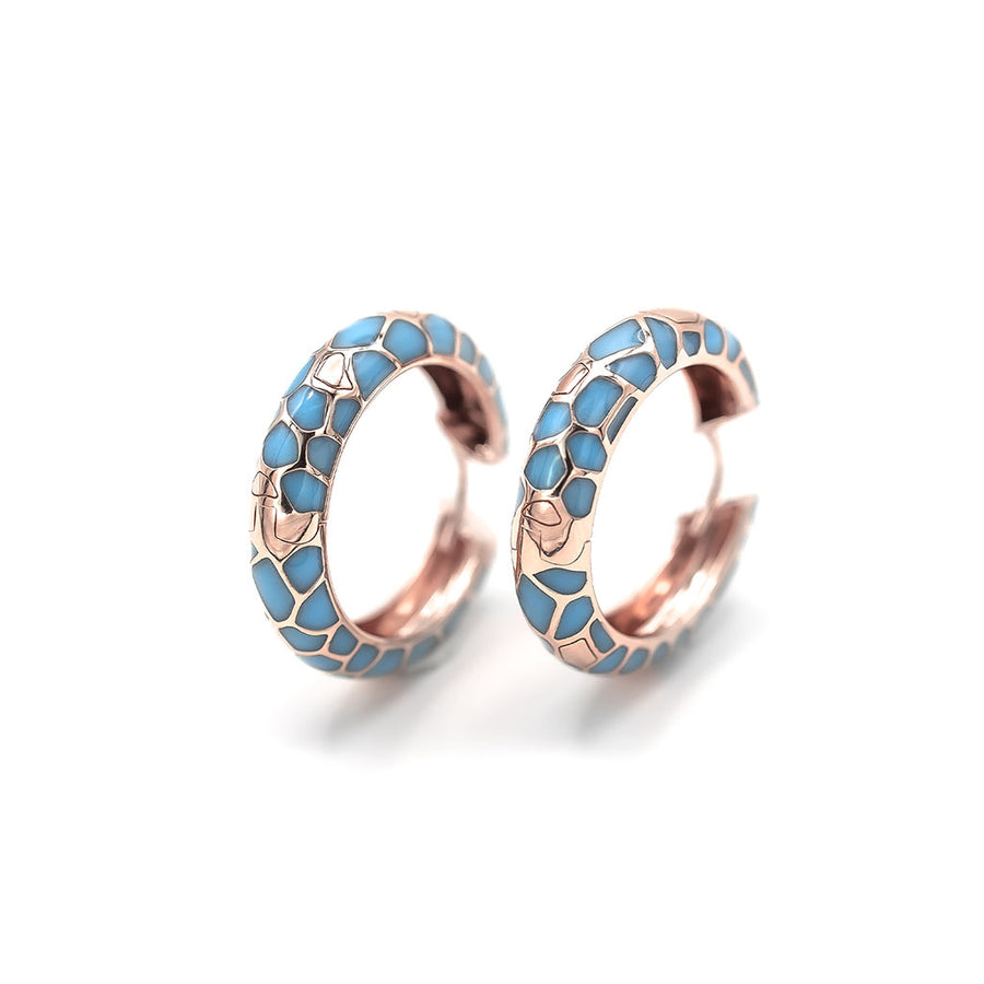 Puzzle enamel hoop earrings