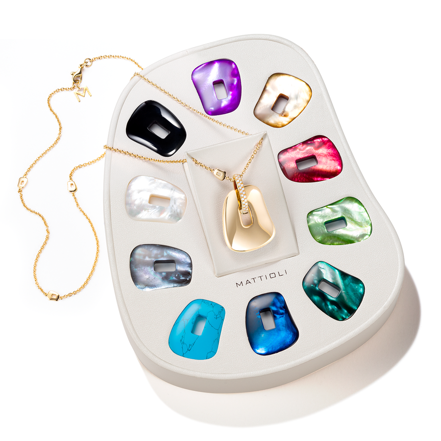 Puzzle gold medium pendant 10 colours giftbox