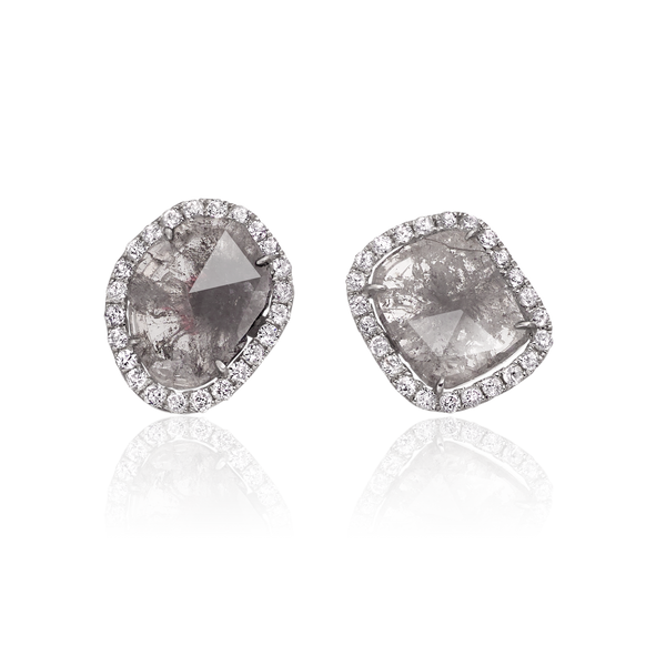 Sliced Diamond Stud Earrings