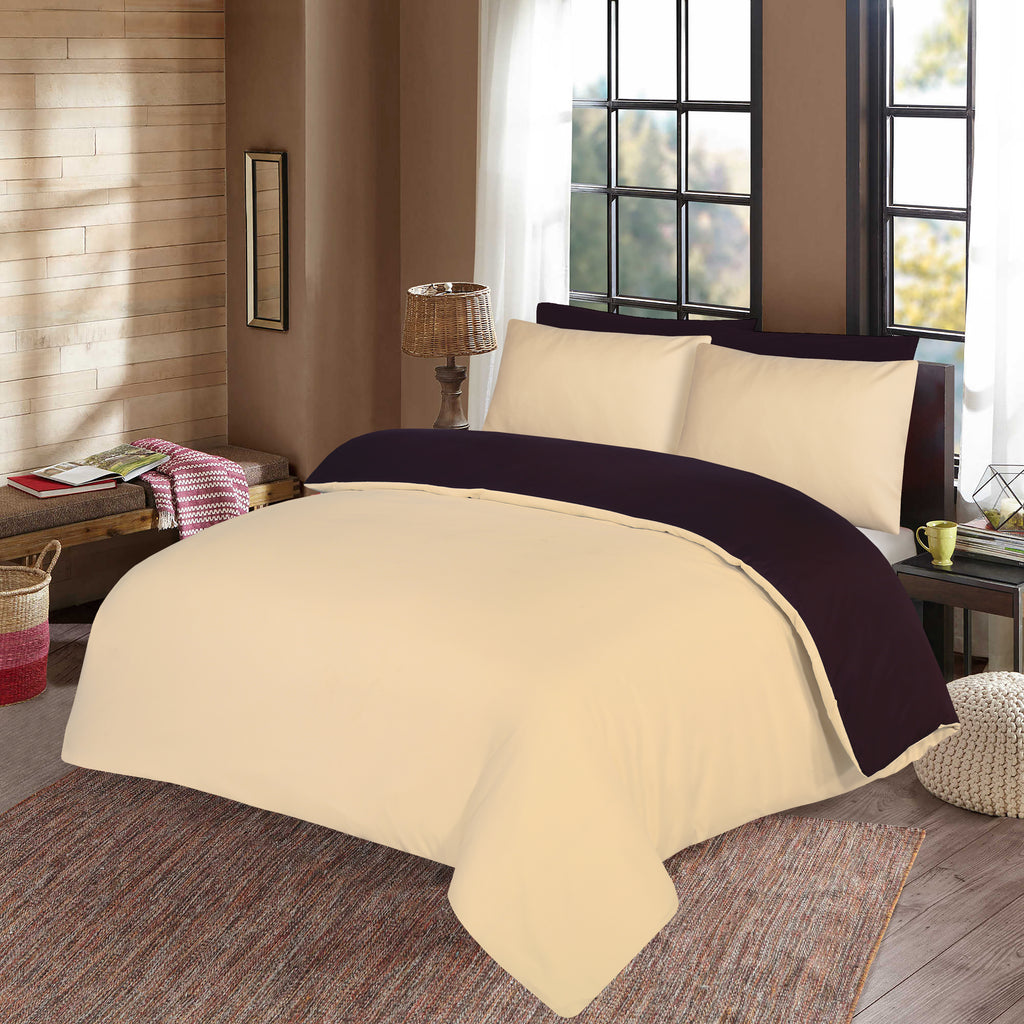 Red Wine & Beige-Signature-Duvet Cover Set (Reversible)