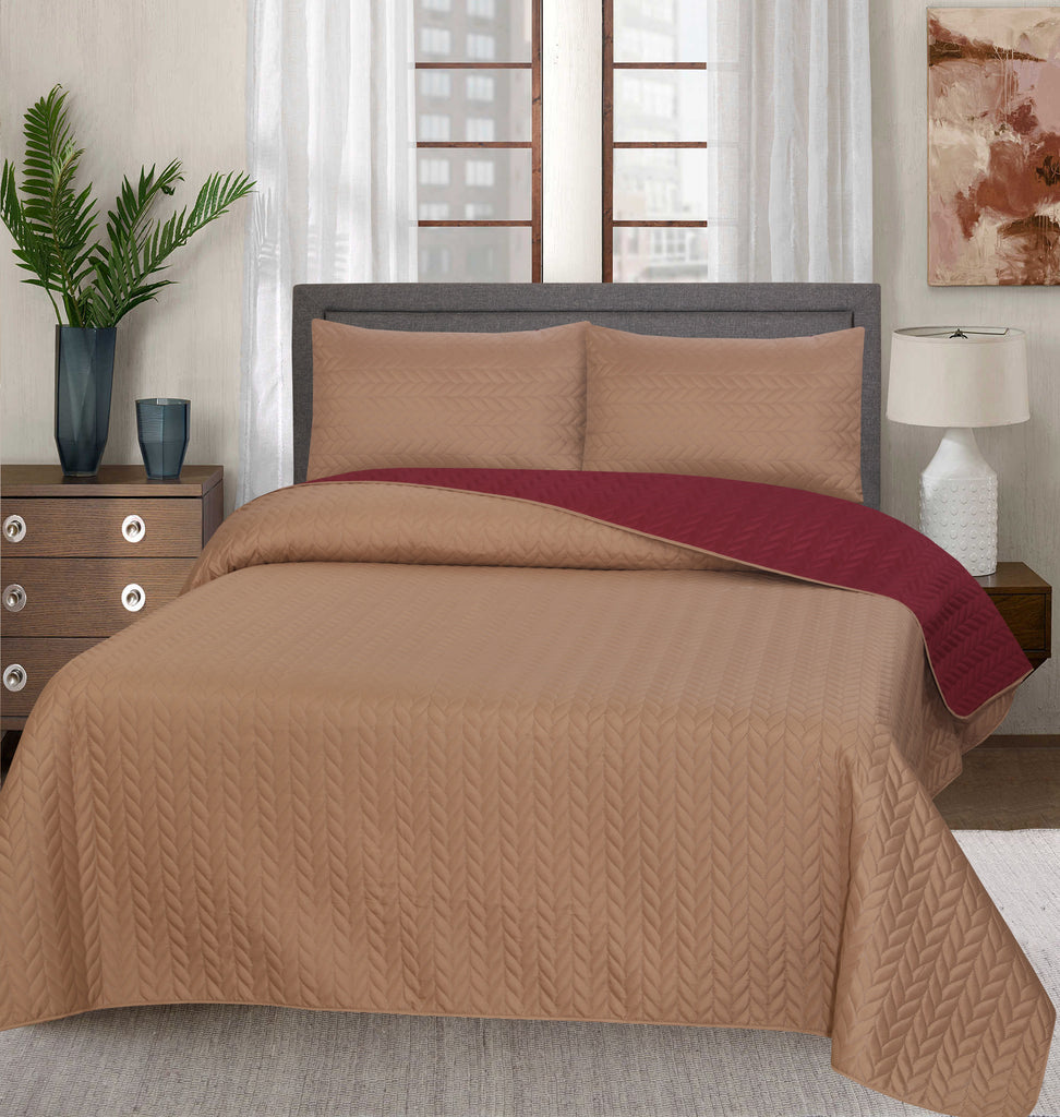 Luxury Quilted Bed Spread Set-Burgundy (Reversible)