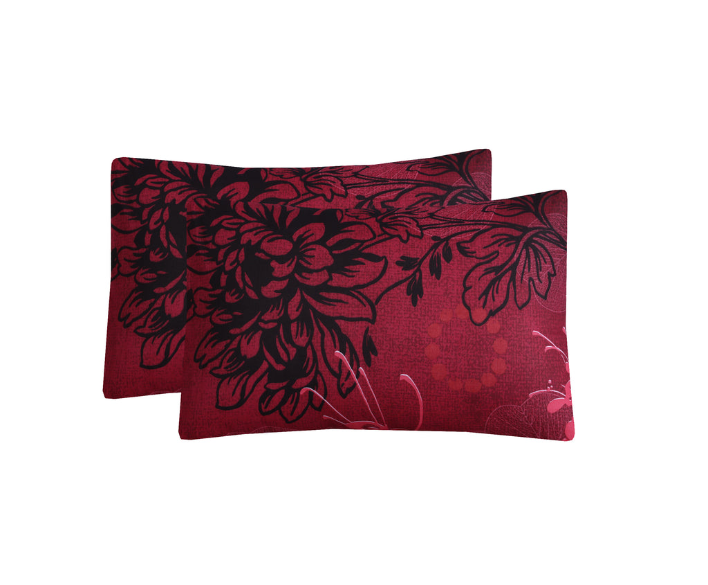 Red Floral-Pack of 2 Pillow Cases