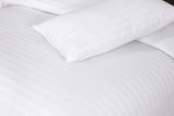 Optical White-Wide Satin Stripe-Bed Sheet Set