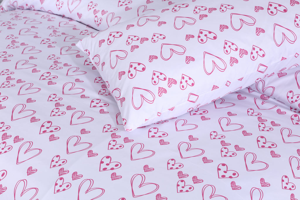 Pink Hearts-Bed Sheet Set