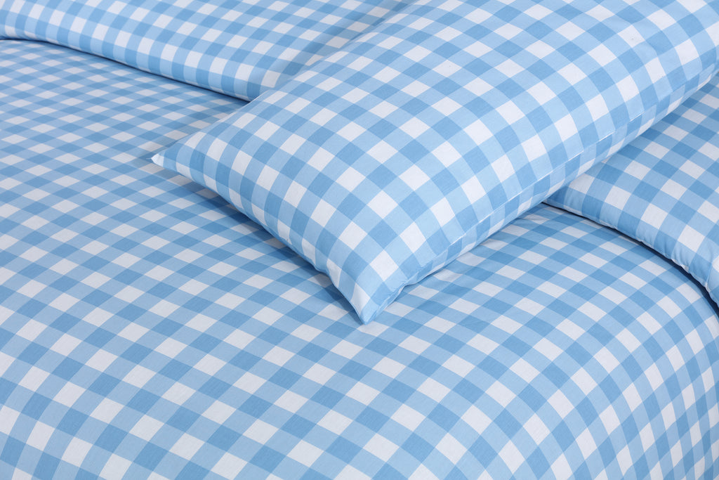Blue Check-Bed Sheet Set