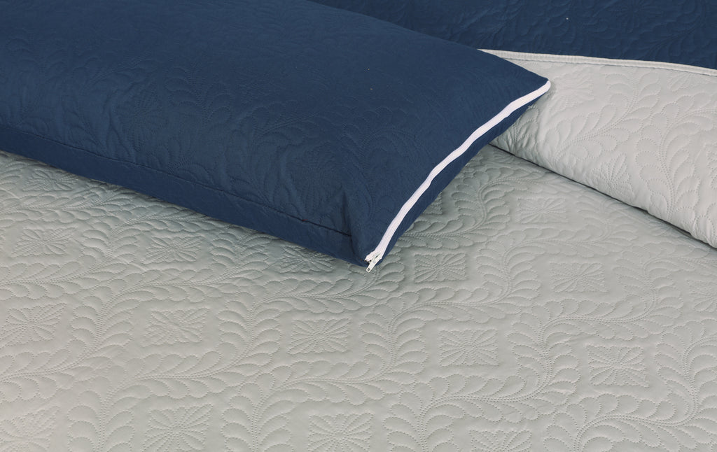 Luxury Quilted Bed Spread Set-Light Grey (Reversible)