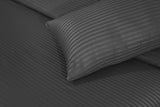 Behrens Grey Wide Stripe-Bed Sheet Set-Sateen