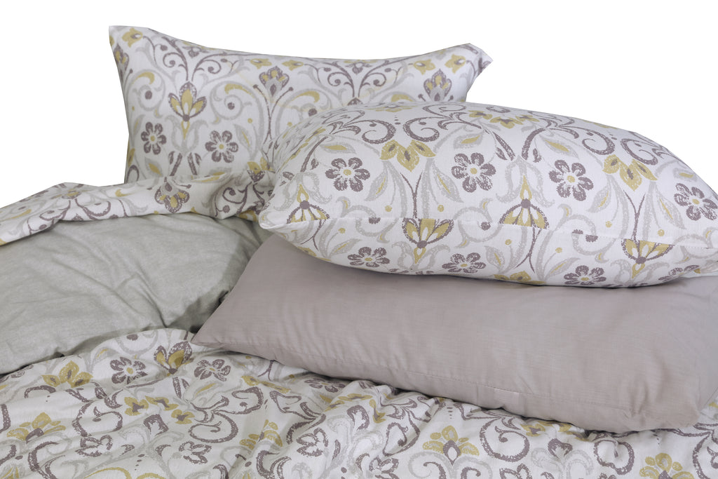 Geometric Floral- Flannel 6 Pcs Bed Set
