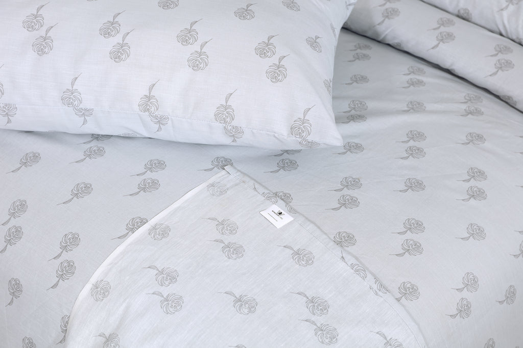 Grey Flower- Bed Sheet Set