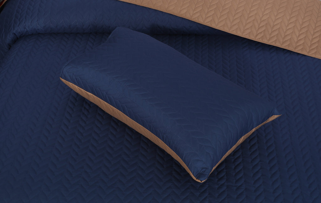 Luxury Quilted Bed Spread Set-Navy (Reversible)