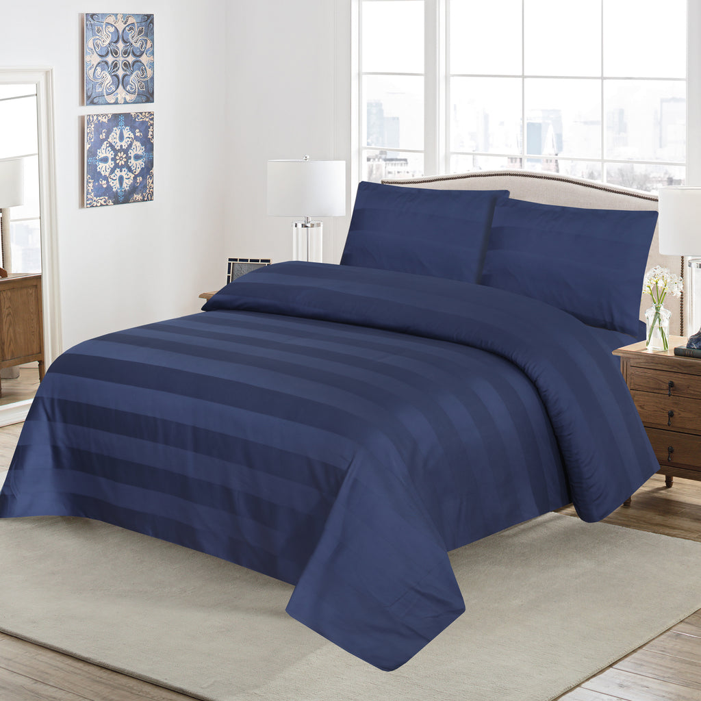 Behrens Blue-Bed Sheet Set-Satin Stripe