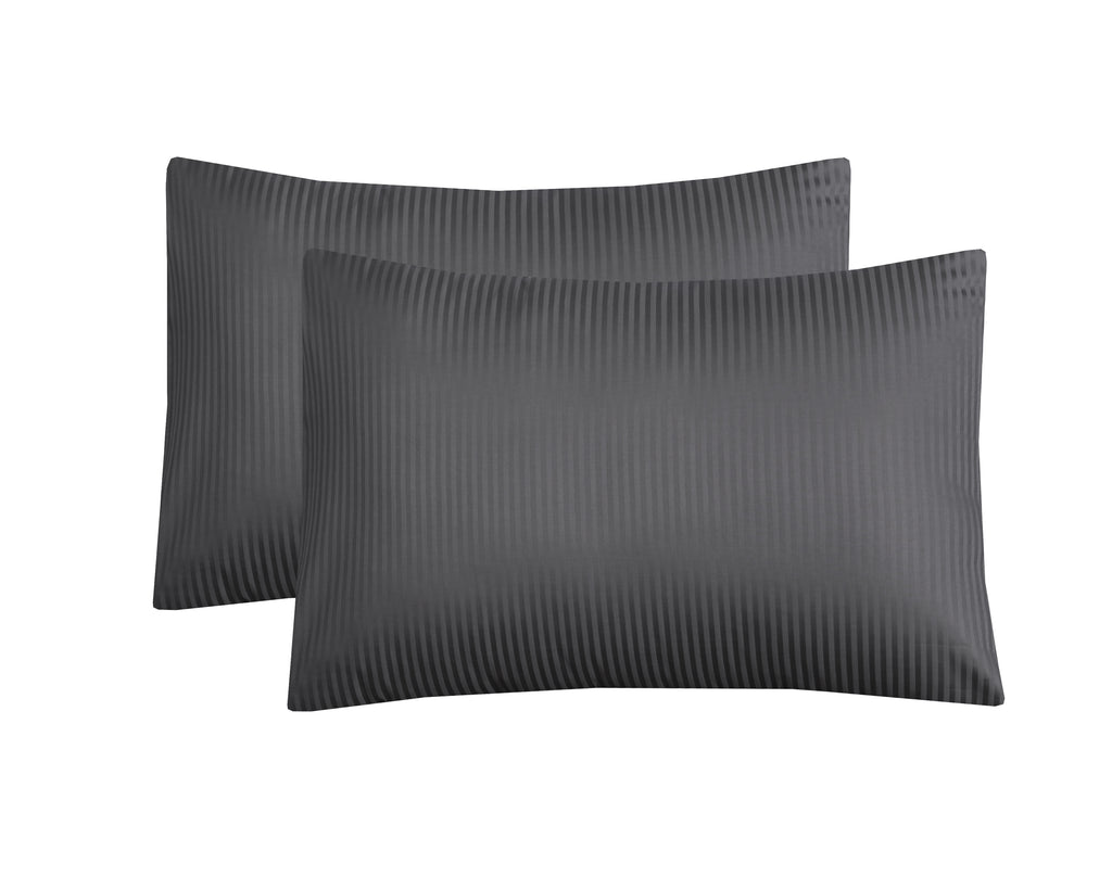 Behrens Grey Narrow Stripe-Pack of 2 Pillow Cases