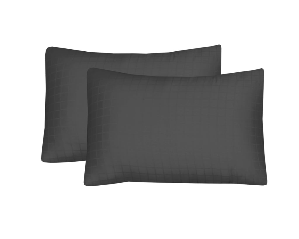 Behrens Grey Check-Pack of 2 Pillow Cases