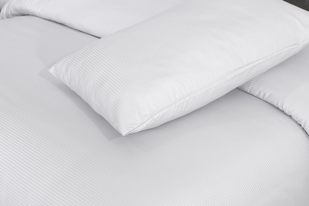 Optical White-Narrow Satin Stripe-Bed Sheet Set