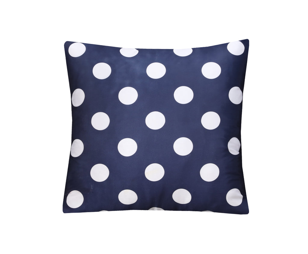 Navy Dotted-Cushion Cover