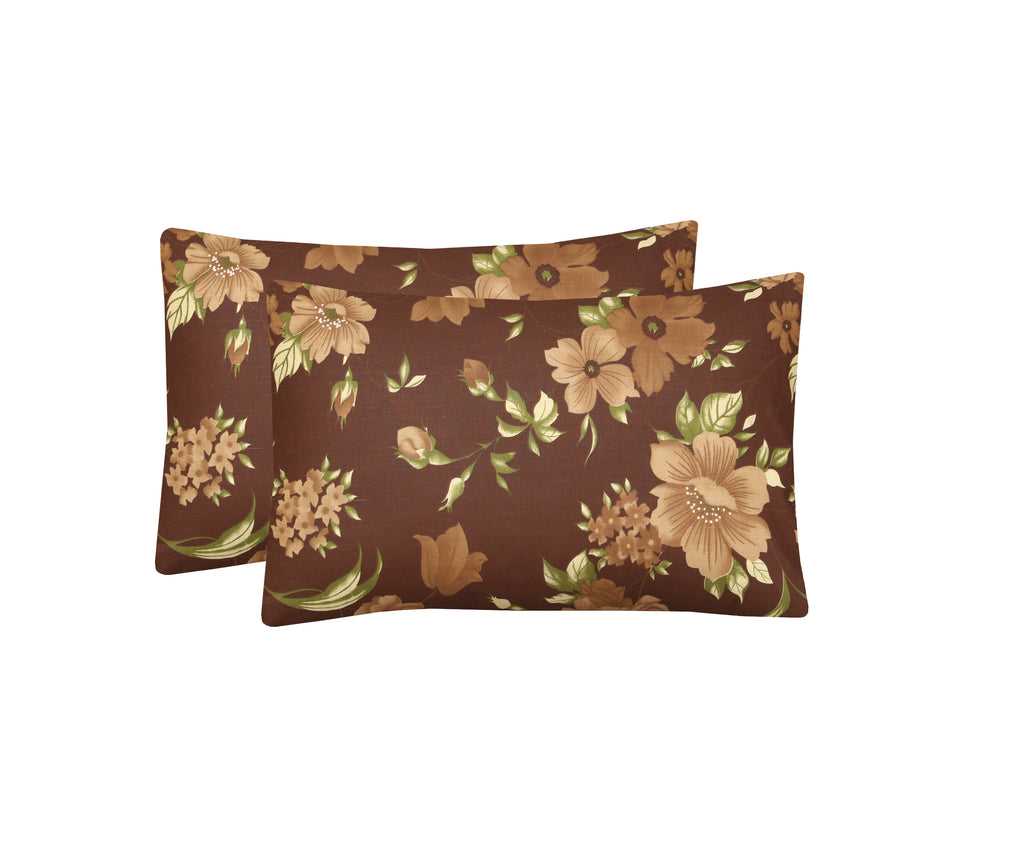 Brown Floral-Pack of 2 Pillow Cases