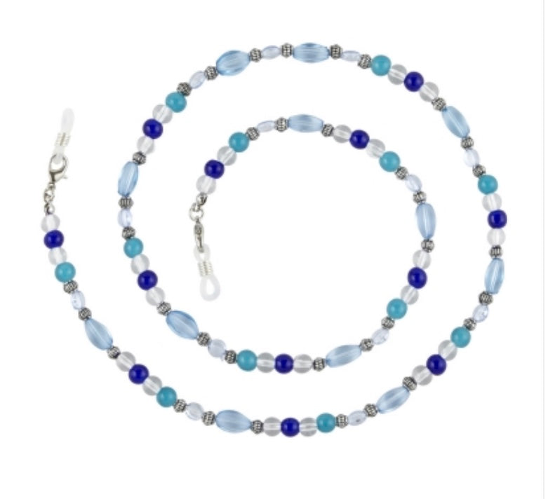 Boutique eyeglass chain / SLVR with tones of blue beads