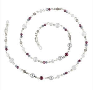 Boutique eyeglass chain / burgundy and silver beads