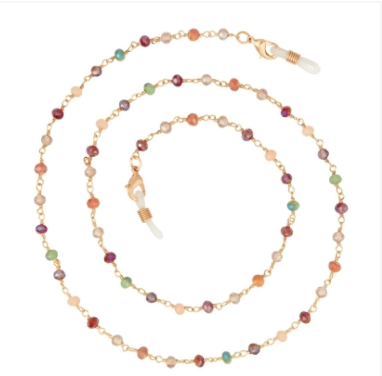 Boutique eyeglass chain / multi-color beads goldtone