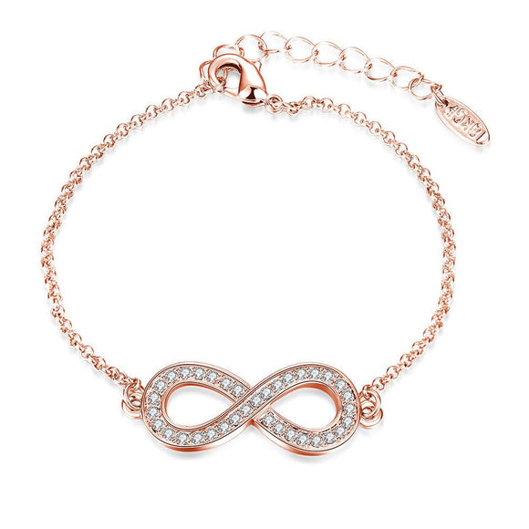Infinity Pendant Bracelet with Swarovski Elements in 14K Rose Gold - www-mallwala-com