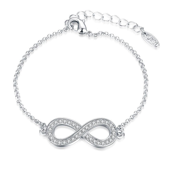 Infinity Pendant Bracelet with Swarovski Elements in 14K White  Gold - www-mallwala-com