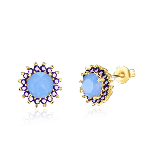 Oceanic Opal Blossoming Stud Earrings in 14K Gold - www-mallwala-com