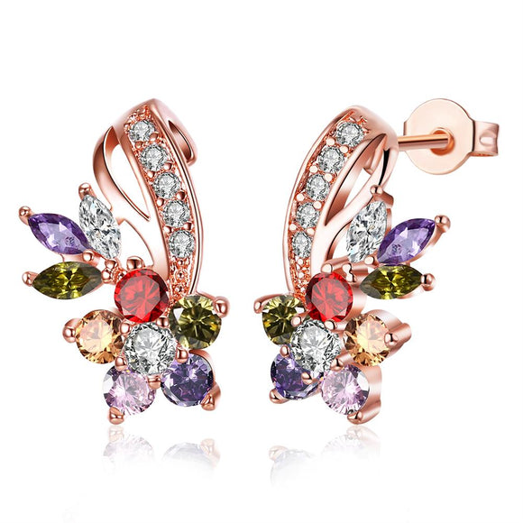 18K Rose Gold Plated Rainbow Earrings Made with Swarovski Elements - www-mallwala-com