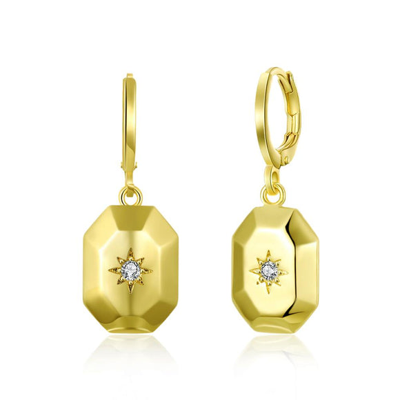 Swarovski Rectangle Drop Earrings in 14K Gold - www-mallwala-com