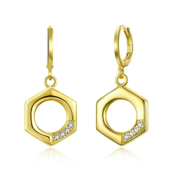 Hexagon Swarovski Drop Earrings in 14K Gold - www-mallwala-com