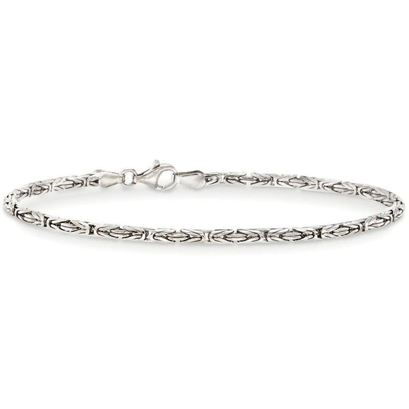 Byzantine Chain Bracelet in 18K White Gold Plated - www-mallwala-com