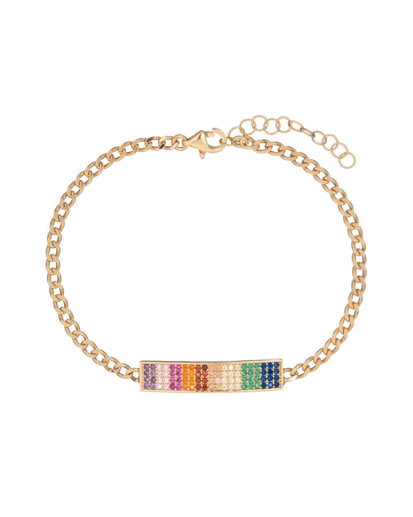 Ombre Pave Rainbow Chain Bracelet with Swarovski Crystals in 18K Gold Plated - www-mallwala-com