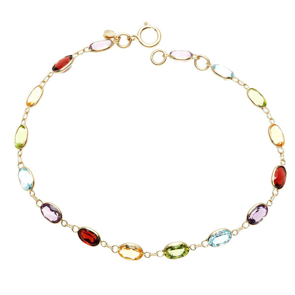 Simulated Multi Gemstone Rainbow Bracelet in 14K Gold - www-mallwala-com