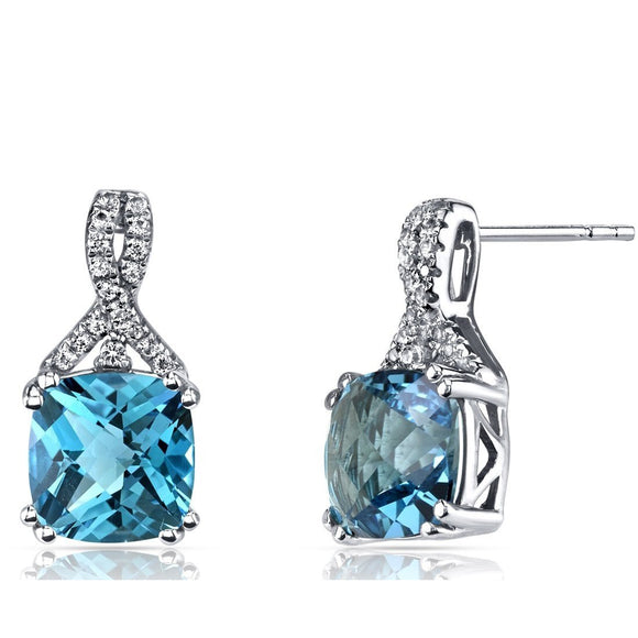 2.00 CT Aquamarine Cushion Round Stud Earringin 18K White Gold Plated - www-mallwala-com