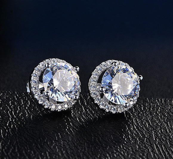 Halo Stud Earrings with Swarovski Crystals with FREE Gift Box - www-mallwala-com