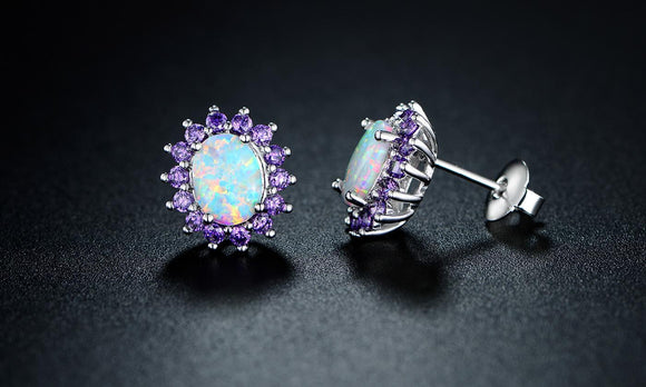 0.25 CTTW White Fire Opal and Amethyst Stud Earrings in 18K White Gold - www-mallwala-com