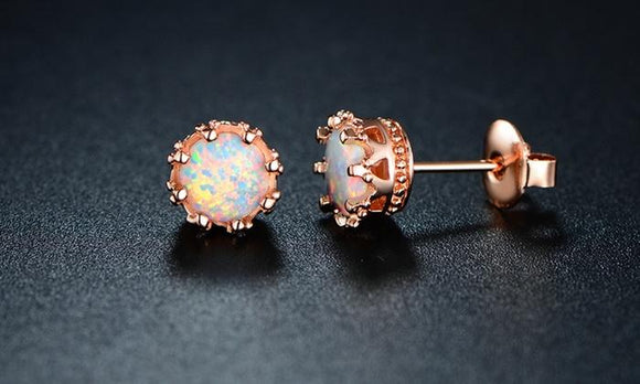 Fire Opal Crown Stud Earrings in 18K Rose Gold Plating - www-mallwala-com