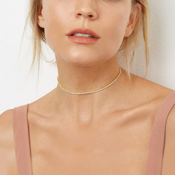 Swarovski Crystals Classic 3mm Tennis Choker  Necklace - www-mallwala-com