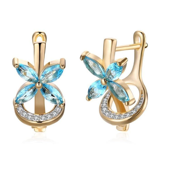 Simulated Aquamarine Clover Shaped Leverback Earrings Set in 18K Gold - www-mallwala-com