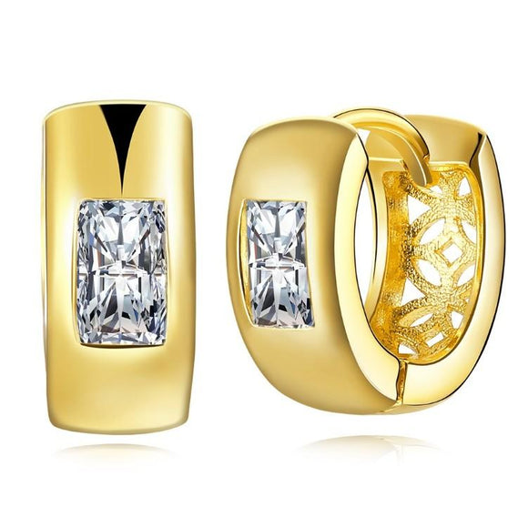 Simulated Square Diamond Clip On Huggies Set in 18K Gold - www-mallwala-com