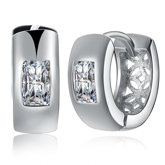 Simulated Square Diamond Clip On Huggies Set in 18K White Gold - www-mallwala-com