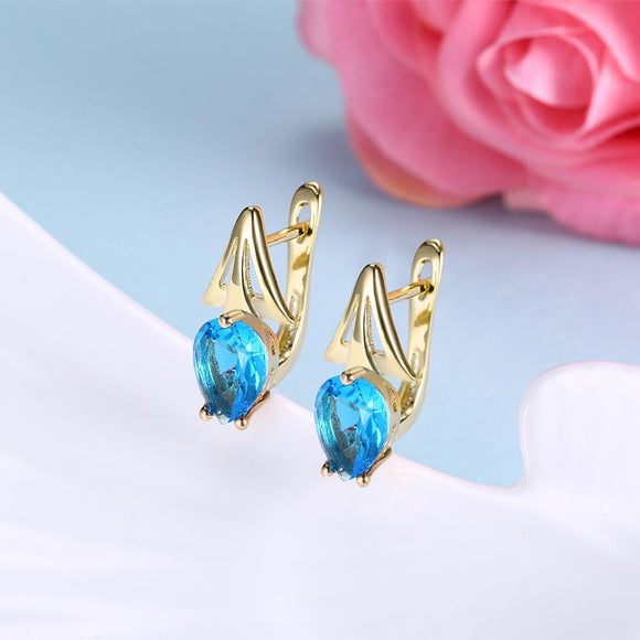 Simulated Aquamarine Triangular Shaped Leverback Earrings Set in 18K Gold - www-mallwala-com