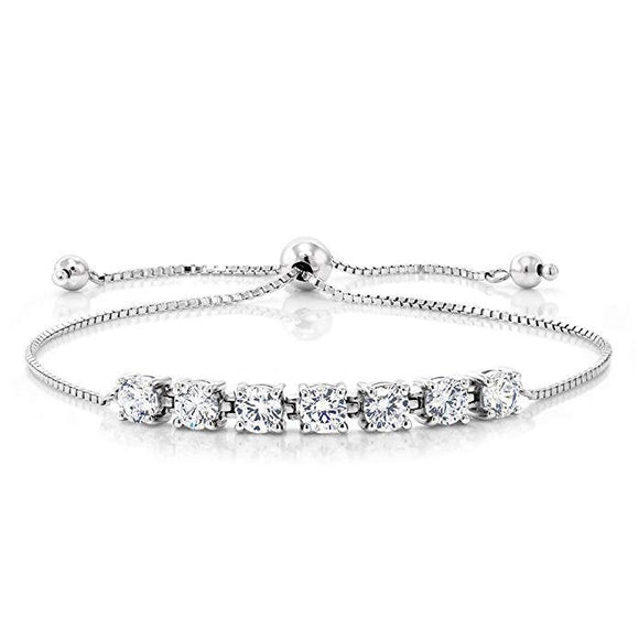 Seven Princess White Swarovski Elements Bracelet in 18K White Gold - www-mallwala-com