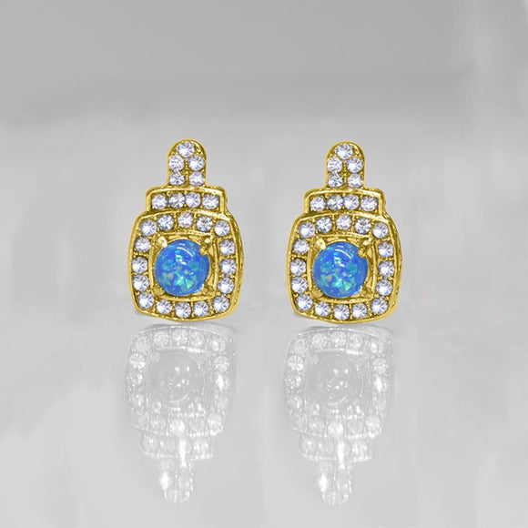 Oceanic Opal Double Halo Stud Earrings Made With Swarovski Elements in 18K Gold Plating - www-mallwala-com