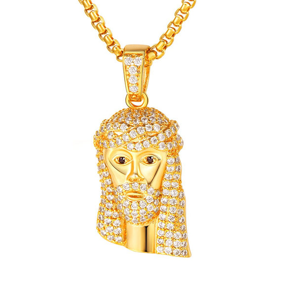 Classic Diamond Created Iced Out Jesus  Necklace - www-mallwala-com