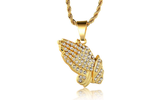Classic Diamond Created Iced Out Praying Hands  Necklace - www-mallwala-com