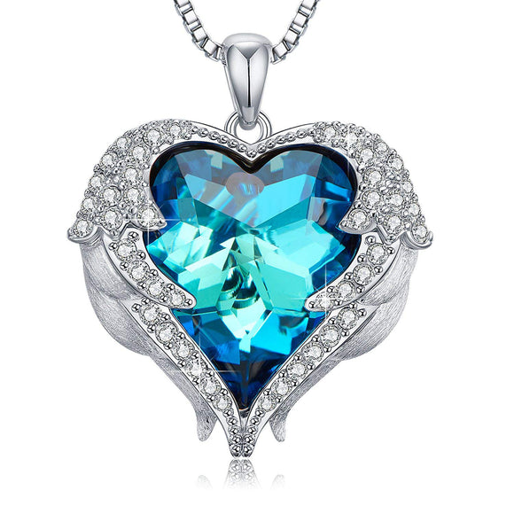 Swarovski Crystals Bermuda Blue Heart Wings of an Angel  Necklace - www-mallwala-com