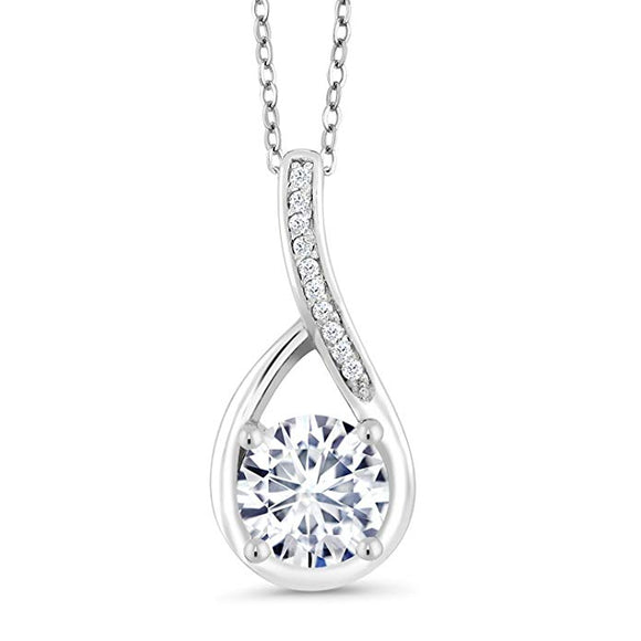 Swarovski Crystals Classic Diamond Created Teardrop  Necklace - www-mallwala-com